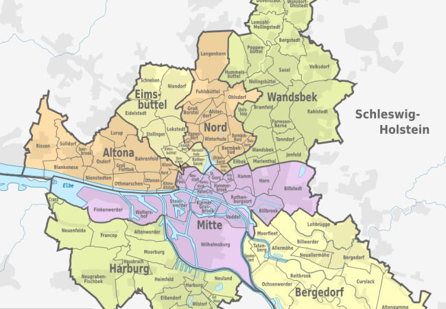 Hamburger Stadtbezirke & Stadtteile